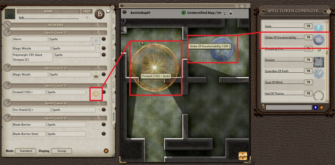 Ability to drag Spell Tokens on any map from Player or GM