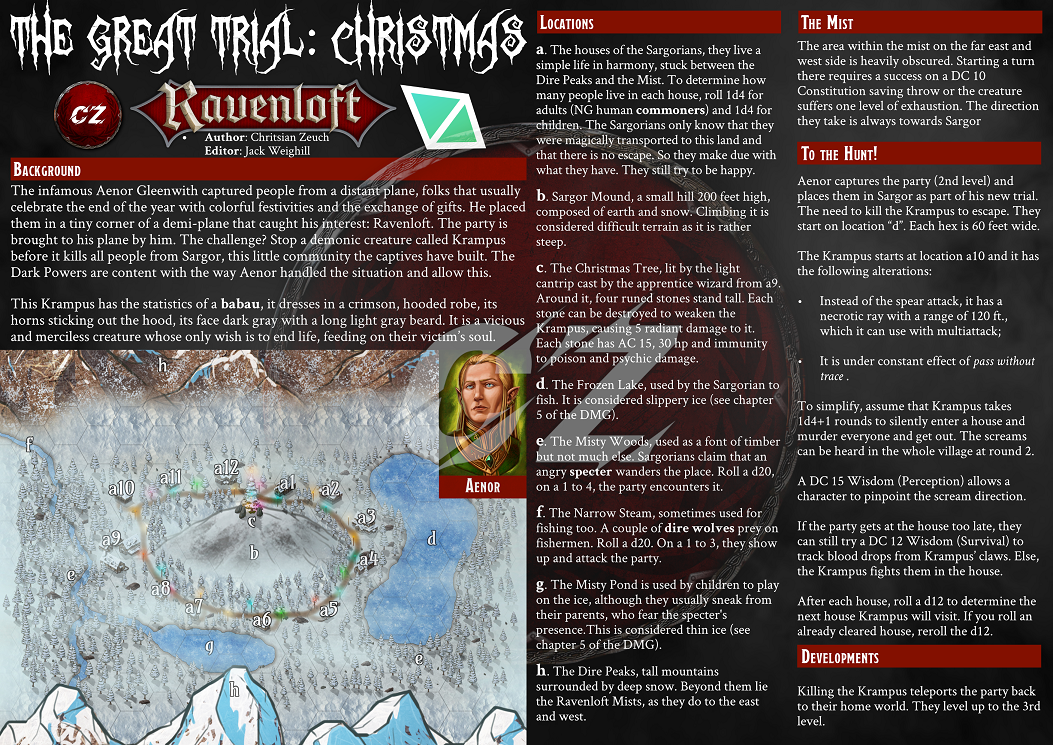 The image of the adventure itself, a one-page adventure featuring a hexcrawl map and the instructions on how to run it.