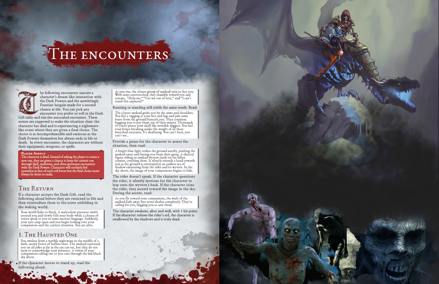 Preview of the Introduction, Encounter #1 and an art of a skeletal rider on top of some zombies.