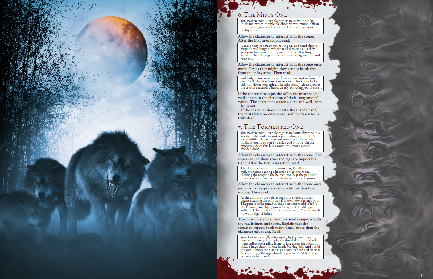 Preview of Encounters #6 and #7 with arts of aggressive wolves and misty hands.