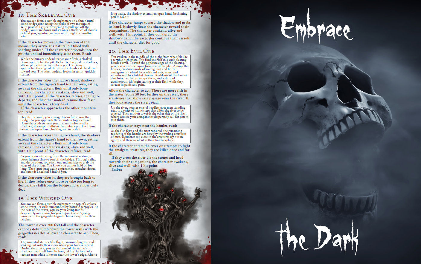 Preview of Encounters #18, #19 and #20, the image of a terrible, multi-headed and armed creature with red yes, and a full art of a skull with a gaping mouth that reads
