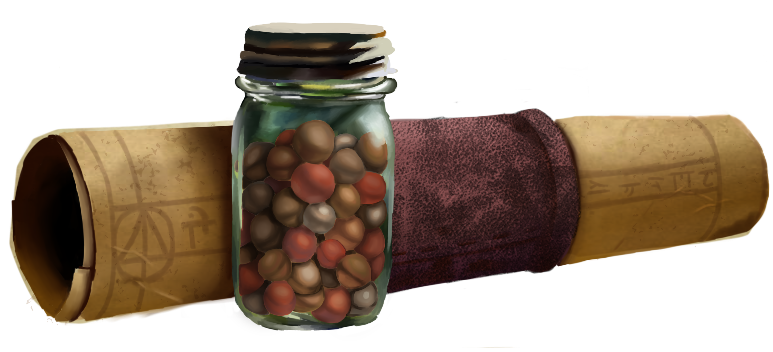 Spell scroll rolled up with a leather band behind a jar of beads of nourishment and refreshment
