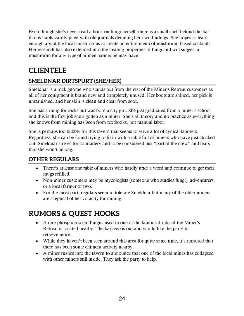 Printer-friendly layout of Miner's Retreat
