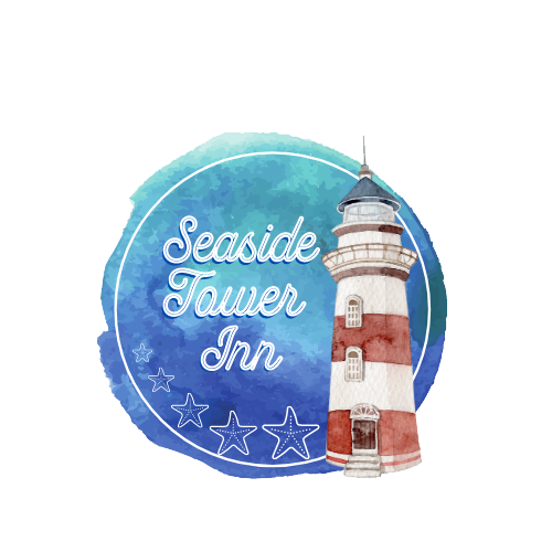 blue watercolor image with a red and white striped lighthouse and the text