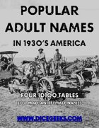 Popular Adult Names  in 1930's America