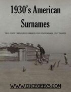 1930's American Surnames