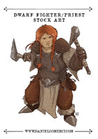 Female Dwarf Fighter-Priest Stock Art