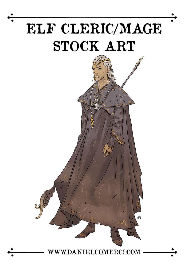 Male Elf Cleric Mage Stock Art Daniel Comerci Stock Art Color Characters Drivethrurpg Com