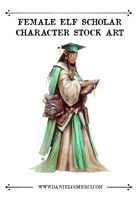 Female Elf Scholar Stock Art