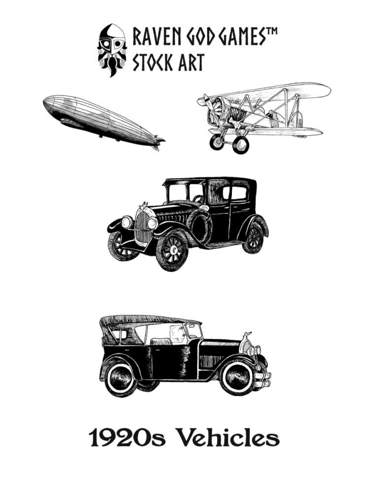 RGG Stock Art: 1920s Vehicles