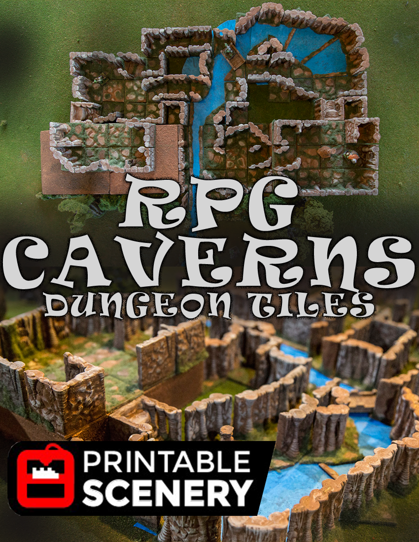 graphic relating to 3d Printable Dungeon Tiles called Dungeon Caverns 31 independent 3D PRINTABLE dungeon tiles - www