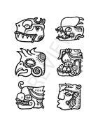 Aztec-ish glyphs - fantasy stock art