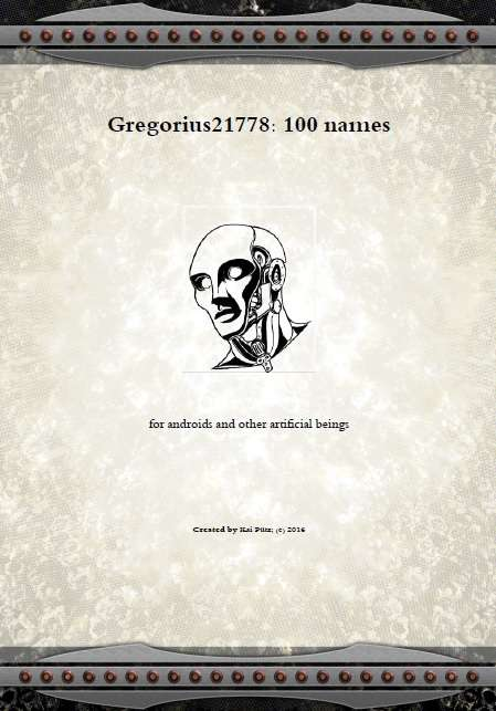 Gregorius21778: 100 names for androids and other artificial beings