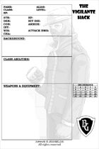 FREE Character Sheet for The Vigilante Hack
