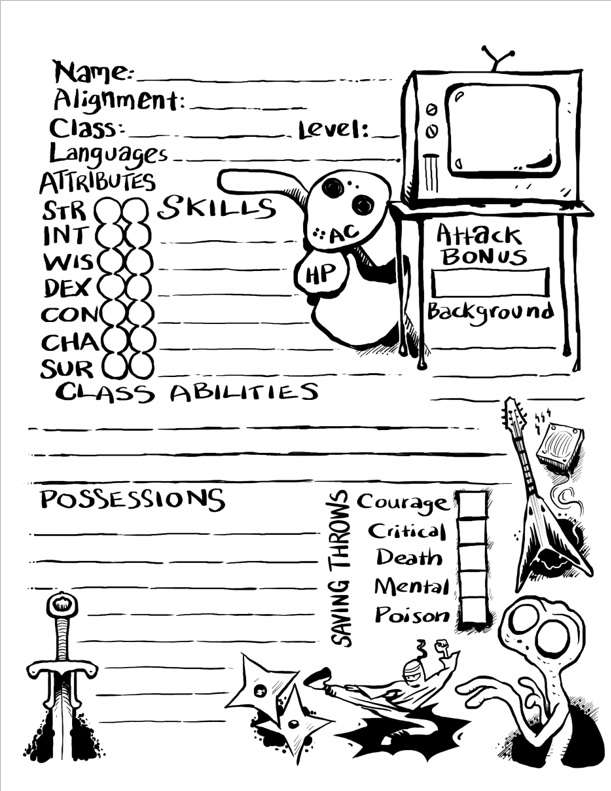 retro 80s character sheet by james v  west for dark places