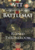 VTT Battlemap - Ruined Throne Room Map
