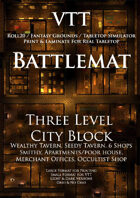 VTT Battlemap - Three Level City Block Map (must have!)