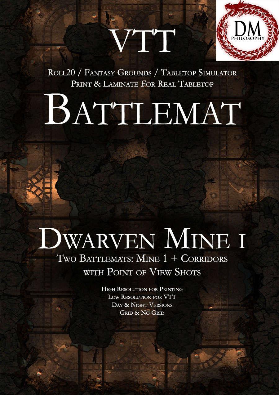 VTT Battlemap - Dwarven Mine I - DM Philosophy | Underground Adventure Maps  (Premium) | Dungeon Masters Guild