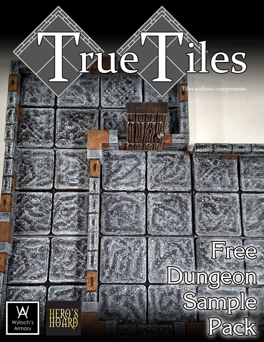 picture about 3d Printable Dungeon Tiles named TrueTiles No cost Dungeon Pattern Pack - Wylochs Armory