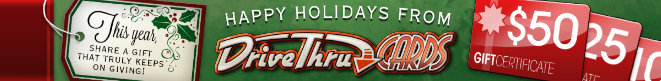 Happy holidays! Gift certificates are available @ DriveThruCards.com
