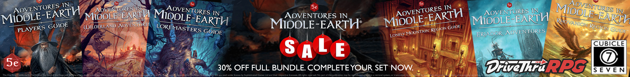 Complete your collection: The Adventures in Middle Earth Bundle - 30% off @ DriveThruRPG.com