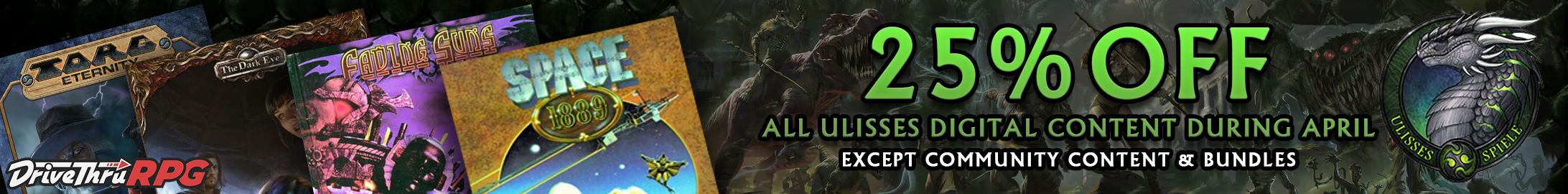 Ulisses 25% off during April