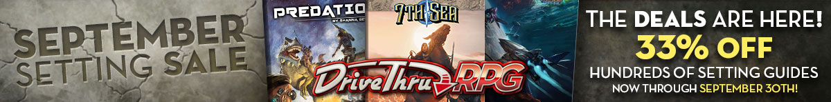 September Setting Sale @ DriveThruRPG